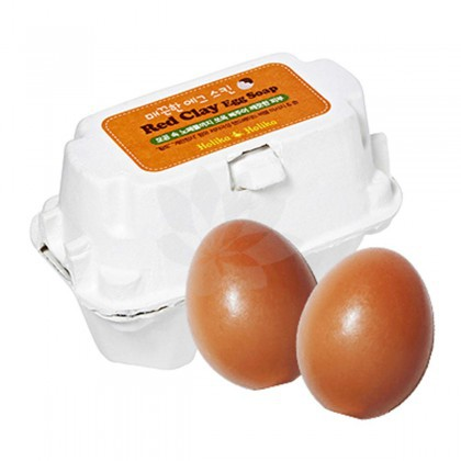 Mydełko do twarzy z ekstraktem z żółtej glinki i protein Holika Holika Smooth Egg Skin Egg Soap - Red Clay