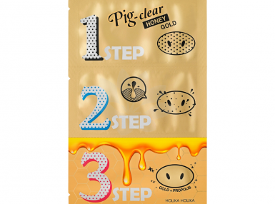 Holika Holika Pig Clear Black Head 3-step kit (Honey Gold)